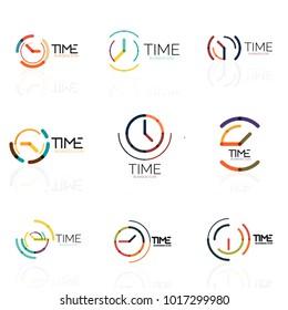 Vector abstract logo idea, time concept or clock business icon set. Creative logotype design templates, linear flat thin line design