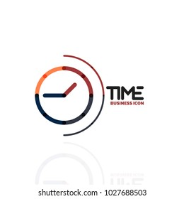 Vector abstract logo idea, time concept or clock business icon. Creative logotype design template, linear flat thin line design