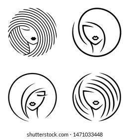 Vector abstract logo set for beauty salon, hair salon, cosmetics