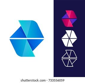 Vector abstract logo template. Material design, flat and line style. Origami paper icon