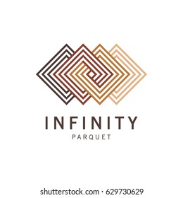 Vector abstract logo template. Logo parquet, laminate, flooring, tiles. Infinity parquet