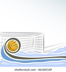Vector abstract logo for Water Polo for text info title, consisting of swimming pool water sports arena with blue waves and waterpolo equipment yellow polo ball flying on trajectory in net gate goal.
