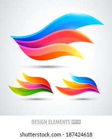 Vector abstract logo wings. Modern creative elements for design. Color icons set