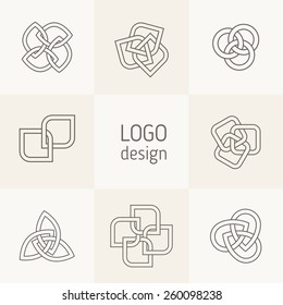 Vector abstract logotypes. Intertwining shapes, triangular templates, elegant abstract symbols. Modern universal elements for branding and logo design. Outlined shapes with weaving effect.
