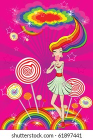 vector abstract lollipop girl