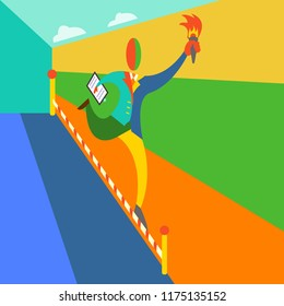 Vector abstract Malevich-like illustration of a running man with torch and folder.