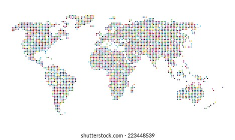 Vector abstract map of the world