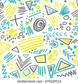 Vector abstract marker colorful lines seamless pattern. Can be used as a background, pattern, wrapping paper, backdrop, wallpaper or as bag template, print for packet etc.