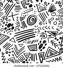 Vector abstract marker colorful lines seamless pattern.  Isolated, colorless. Can be used as a background, pattern, wrapping paper, backdrop, wallpaper or as bag template, print for packet etc.