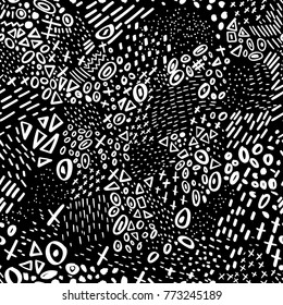 Vector abstract marker stroke doodle lines seamless pattern with circles, dots,triangle. Black and white , colorless. Can be used as a background, pattern, wrapping paper, textile swatch, fabric