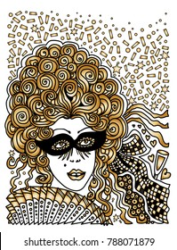 Vector abstract Masquerade card. Carnival Party invitation. Harlequin rhombus. Mardi Gras holiday. Black, gold, white hand drawn doodle sketch. Lady in mask, baroque wig, fan, confetti.Tee shirt print