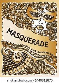 Vector abstract Masquerade drawing. Carnival Party invitation card. Mardi Gras holiday greeting. Black and gold hand drawn doodle sketch. Lady in mask, Baroque wig, fan, bow, scrolls, confetti