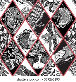 Vector abstract Masquerade ornament. Carnival Party seamless pattern. Harlequin rhombus. Mardi Gras holiday. Black and white hand drawn doodle sketch. Tribal ornaments,feathers, checkered texture