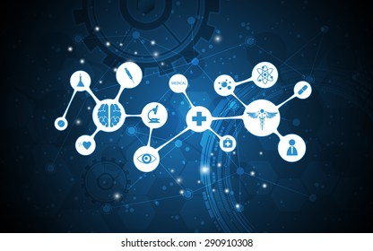 vector abstract medical icon networking design background