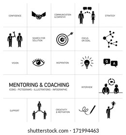 vector abstract mentoring and coaching icons and pictograms set of skills and solutions