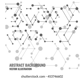 Vector abstract mesh and dots background. Modern technology illustration with digital lines. Geometric abstraction stripes, points. Cube cell. Network connection concept.