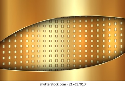 Vector abstract metal gold background in tabloid format