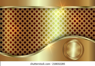 Vector abstract metal gold background with curve  in tabloid format