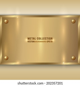 Vector abstract metal gold plate with screws on beige background