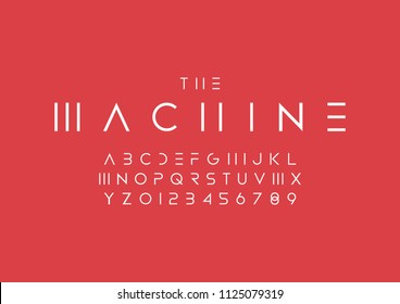 Vector of abstract minimal font and alphabet