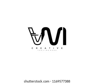 Vector Abstract Minimalism Modern Linked Monogram Letter VM Logo