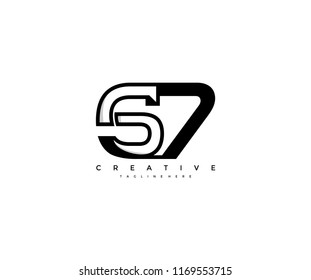 Vector Abstract Minimalism Modern Monogram Letter S7 Design Logo