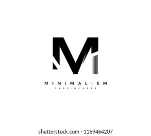 Vector Abstract Minimalism Monogram Initial Letter M Design Logo