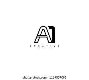 Vector Abstract Minimalism Monogram Letter A1 Design Logo