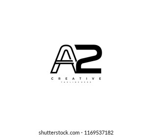 Vector Abstract Minimalism Monogram Letter A2 Design Logo