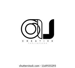 Vector Abstract Minimalism Monogram Letter OU Design Logo