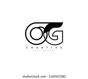 Vector Abstract Minimalism Monogram Letter OG Design Logo