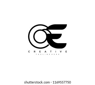 Vector Abstract Minimalism Monogram Letter OE Design Logo