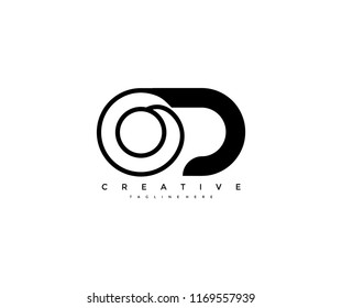 Vector Abstract Minimalism Monogram Letter OD Design Logo