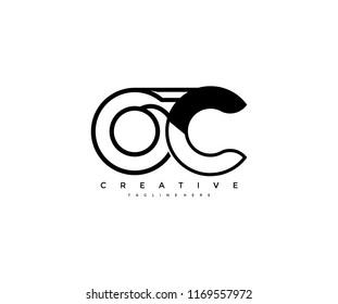 Vector Abstract Minimalism Monogram Letter OC Design Logo