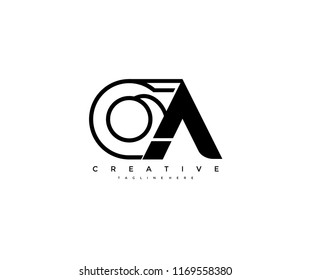 Vector Abstract Minimalism Monogram Letter OA Design Logo