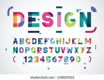vector abstract modern color font
