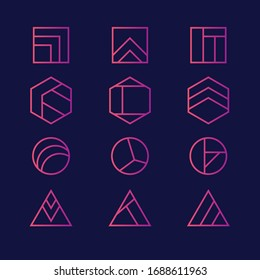 Vector abstract modern logo design templates in innovative linear style - minimal geometric concepts and badges. Hexagons, Triangles, Squares, Circles. Isolated on dark background.