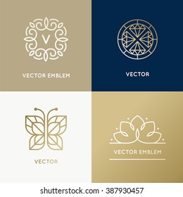 Vector abstract modern logo design templates in trendy linear style in golden colors - luxury and jewelry concepts for exclusive services and products, beauty and spa industry