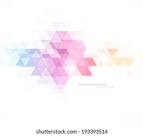Vector abstract modern polygonal geometric background. Transparent triangular mosaic with subtle lines.