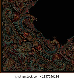 Vector abstract modern quarter scarf with humorous dragon print on a black background. Paisley pattern from dark colorful hand drawn flowers, fern leaves and fantasy beast animals,ornate cute dinosaur