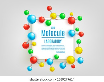 Vector abstract molecule poster. Colorful atoms molecular object for medical, chemical laboratories, biotechnologies and pharmaceutical related background design.