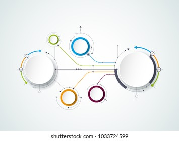 Vector abstract molecules with 3D paper label, integrated circles. Blank space for content, business, infographic template, diagram, network, web design. Social media connection technology concept