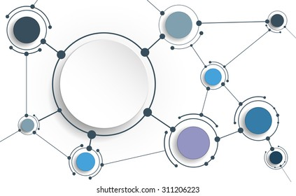 Vector Abstract molecules with 3D paper on light gray background. Communication-social media technology concept. 3D paper circle label with space for your content, business, network and web design