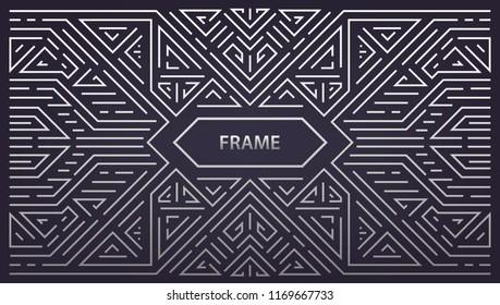 Vector abstract monogram geometric frame, vintage horizontal orientation linear silver background. Art deco