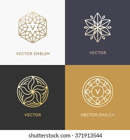 Vector abstract monograms and logo design templates in trendy linear style in golden colors - beauty, jewelry and fashion concepts
