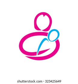 Vector abstract mother and son. Maternity concept