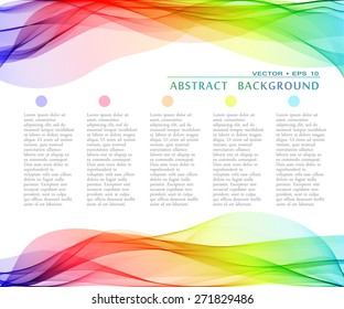 Vector abstract multicolor curved lines background. Template design
