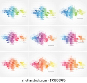 Vector abstract multicolored polygonal mosaic backgrounds collection. Modern geometric triangular patterns. Business design templates