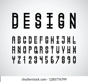 vector abstract narrow font and alphabet