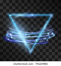Vector abstract neon blue triangle light effect with swirling winds. Glowing decorative effect of luminous geometric shape with storm vortex. Illuminating decorative illustration background.